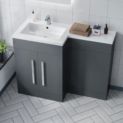 Aric 1100mm LH Grey Bathroom Basin Combination Vanity Unit