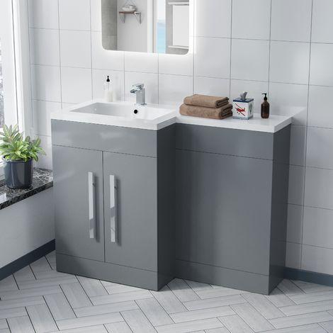 Aric 1100mm LH Light Grey Bathroom Basin Combination Vanity Unit