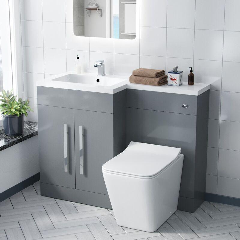 Neshome - Aric LH 600mm Vanity Basin Unit, WC Unit & Elora Back To Wall Toilet Light Grey