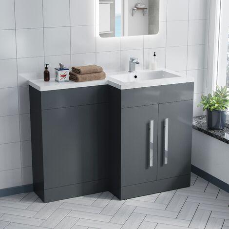 Aric 1100mm RH Grey Bathroom Basin Combination Vanity Unit