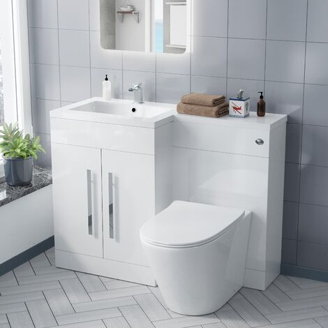 Aric LH Vanity Sink and WC Back to Wall Rimless Toilet
