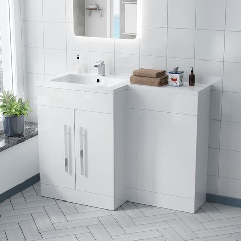 Aric Modern Left Hand White Gloss Bathroom Basin Vanity Unit Wc Cabinet