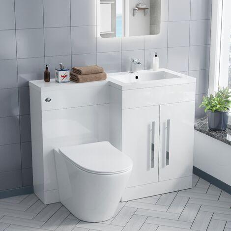 Aric RH Vanity Sink and Rimless toilet Bathroom Suite