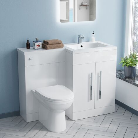 ARIC Right Hand White Gloss Bathroom Basin Vanity Unit WC Toilet Cabinet Suite - 1100mm