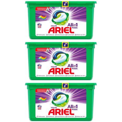 ARIEL 3x Colorwaschmittel All in One Pods je 33 Waschladungen