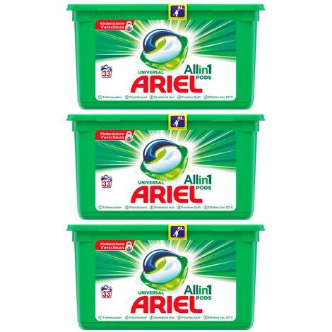 ARIEL 3x Universal Vollwaschmittel All in One Pods je 33 Waschladungen