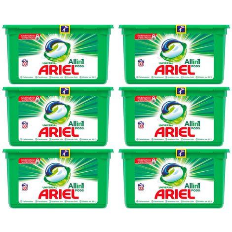 ARIEL 6x Universal Vollwaschmittel All in One Pods je 33 Waschladungen
