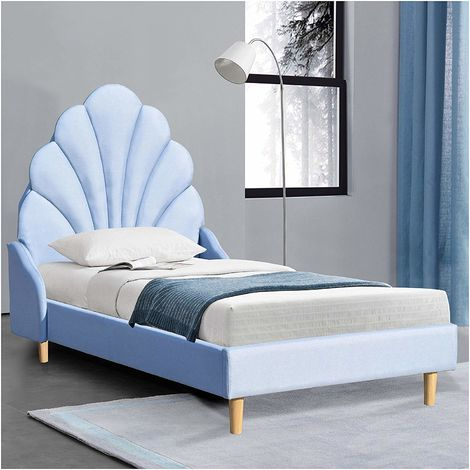 ARIEL Blue Linen Fabric Upholstered Bed with Scalloped Headboard