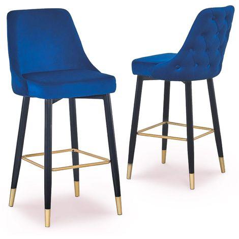 ARIELLE - Lot de deux tabourets design en velours bleu