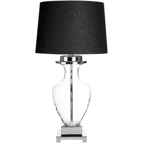 Arine Table Lamp, Black Linen Shade, Clear Glass