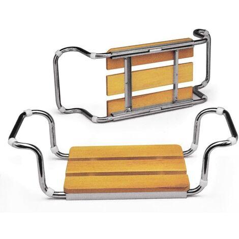 ARIS 2101 - Sedile Vasca Da Bagno In Acciaio Cromato Con Seduta In Faggio Impregnato - Made in Italy - Finitura Naturale