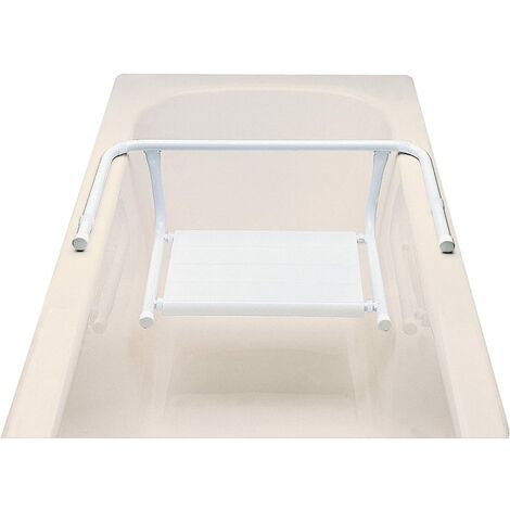ARIS 2105 - Sedile Vasca Da Bagno In Acciaio Verniciato Bianco Con Seduta In Moplen Bianco - Made in Italy