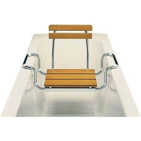 ARIS 2111 - Sedile Per Vasca Da Bagno Con Schienale - Made in Italy - Finitura Naturale