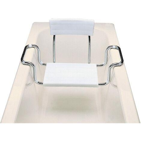 ARIS 2114 - Sedile Vasca Da Bagno In Acciaio Cromato Con Seduta E Schienale In Moplen Bianco - Made in Italy
