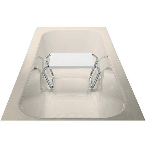 ARIS 2133 - Sgabello Vasca Da Bagno In Acciaio Cromato Con Seduta In Moplen Bianco - Made in Italy