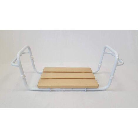 ARIS 3102 BN - Sedile Autoportante Vasca Da Bagno In Acciaio Verniciato Bianco Con Braccioli - Seduta In Faggio Impregnato - Made in Italy
