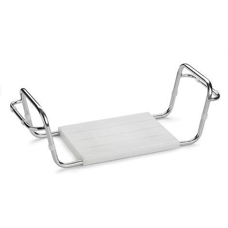 ARIS 3104 - Sedile Vasca Da Bagno Autoportante In Acciaio Cromato Con Braccioli - Seduta In Moplen Bianco - Made in Italy