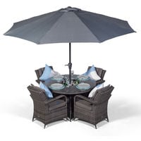 Arizona 4 Seater Grey Rattan Dining Set with Ice Bucket Drinks Cooler | Outdoor Rattan Garden Table & Chairs Set with Parasol & Cover