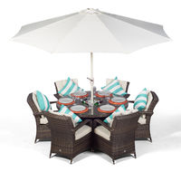 Arizona 6 Seater Brown Rattan Dining Set with Ice Bucket Drinks Cooler | Outdoor Rattan Garden Table & Chairs Set with Parasol & Cover