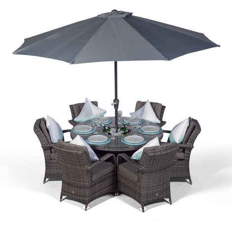 Arizona 6 Seater Grey Rattan Dining Set with Ice Bucket Drinks Cooler | Outdoor Rattan Garden Table & Chairs Set with Parasol & Cover