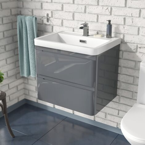 Arizona 600mm Wall Hung Grey Basin Vanity Unit