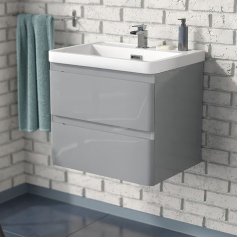 Arizona 600mm Wall Hung Light Grey Basin Vanity Unit