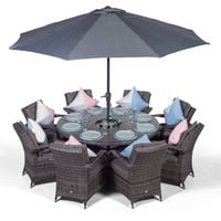 Arizona 8 Seater Grey Rattan Dining Set with Ice Bucket Drinks Cooler | Outdoor Rattan Garden Table & Chairs Set with Parasol & Cover