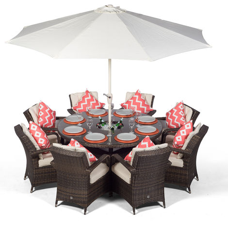 Arizona Large 8 Seater Brown Rattan Dining Set with Ice Bucket Drinks Cooler | Outdoor Rattan Garden Table & Chairs Set with Parasol & Cover
