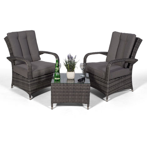 Arizona Rattan 2 Seat Arm Chair set & Small Glass Table + Cushions + Dust Cover Armchair Garden Patio Conservatory Lounge Furniture (Assembled) (Grey)