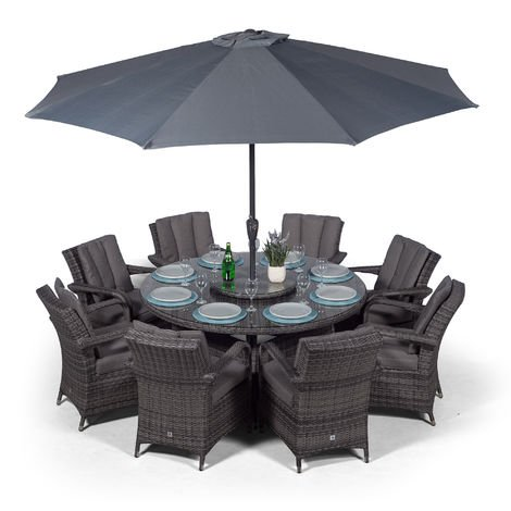 Arizona Rattan Dining Set   Large Round 8 Seater Grey Rattan Dining Set   Outdoor Rattan Garden Table & Chairs Set   Patio Conservatory Wicker Garden Dining Furniture with Parasol & Cover