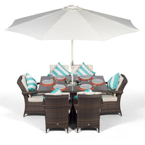 Arizona Rattan Dining Set Rectangle 6 Seater Brown Rattan Table & Chairs Set with Ice Bucket Drinks Cooler | Outdoor Rattan Garden Dining Furniture Set with Parasol & Cover