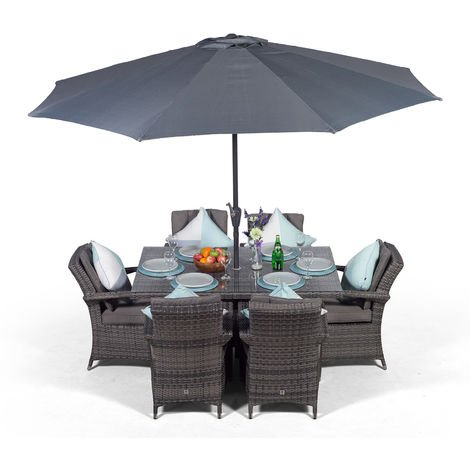 Arizona Rattan Dining Set | Rectangle 6 Seater Grey Rattan Dining Set | Outdoor Rattan Garden Table & Chairs Set | Patio Conservatory Wicker Garden Dining Furniture with Parasol & Cover