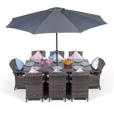 Arizona Rattan Dining Set | Rectangle 8 Seater Grey Rattan Dining Set | Outdoor Rattan Garden Table & Chairs Set | Patio Conservatory Wicker Garden Dining Furniture with Parasol & Cover