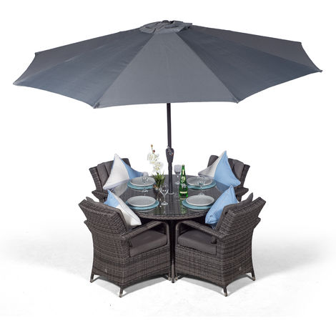 Arizona Rattan Dining Set | Round 4 Seater Grey Rattan Dining Set | Outdoor Rattan Garden Table & Chairs Set | Patio Conservatory Wicker Garden Dining Furniture with Parasol & Cover