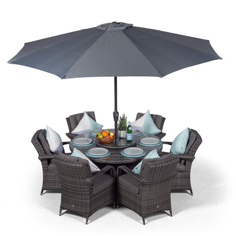 Arizona Rattan Dining Set | Round 6 Seater Grey Rattan Dining Set | Outdoor Rattan Garden Table & Chairs Set | Patio Conservatory Wicker Garden Dining Furniture with Parasol & Cover