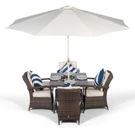 Arizona Rattan Dining Set Square 4 Seater Brown Rattan Table & Chairs Set with Ice Bucket Drinks Cooler | Outdoor Rattan Garden Dining Furniture Set with Parasol & Cover