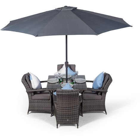 Arizona Rattan Dining Set Square 4 Seater Grey Rattan Table & Chairs Set with Ice Bucket Drinks Cooler | Outdoor Rattan Garden Dining Furniture Set with Parasol & Cover