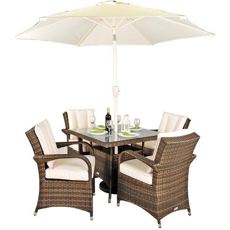 Arizona Rattan Garden Furniture [4 Seat Dining Set with Square Table]