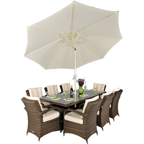 Arizona Rattan Garden Furniture [8 Seat Dining Set with Rectangular Table]