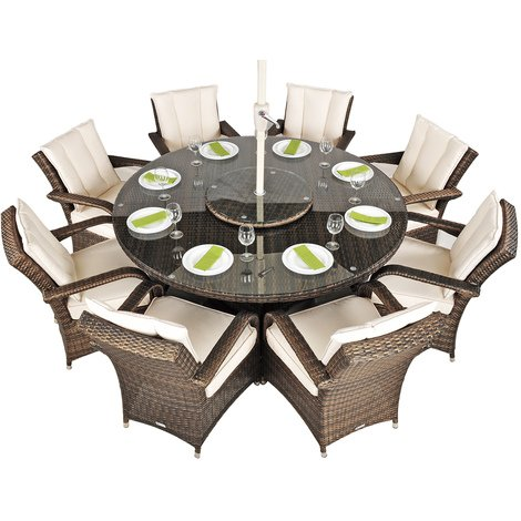 Arizona Rattan Garden Furniture [8 Seat Dining Set with Round Table]