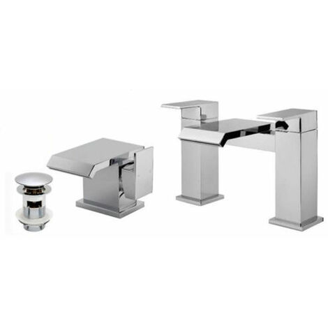 "main image of ""Arke Waterfall Bath Filler Mixer, Basin Tap & Waste Chrome"""