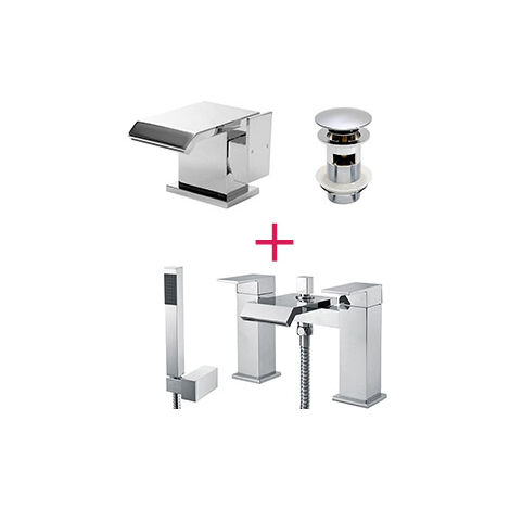 "main image of ""Arke Waterfall Bath Shower Mixer, Basin Tap & Waste Chrome"""