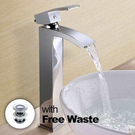 ARKE WATERFALL HIGH RISE BASIN MONO MIXER TAP + WASTE