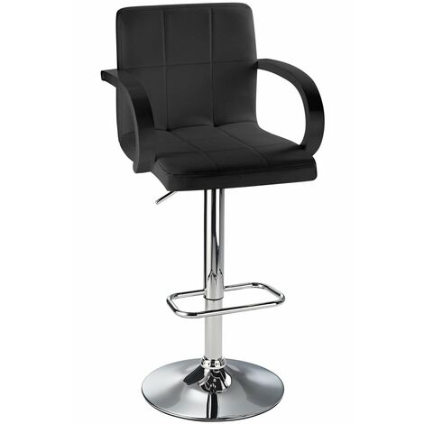 Arla Adjustable Bar Stool With Padded Seat And Armrests Black