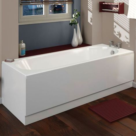 Arley Halite 1700mm Waterproof Front Bath Panel - size 1700mm - color Gloss White