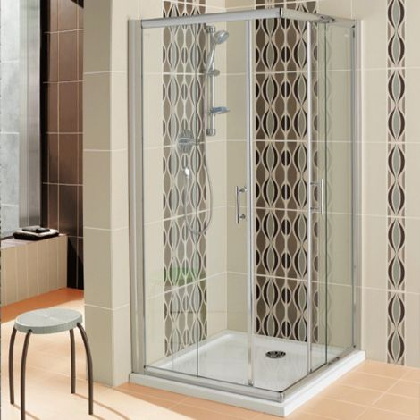 Arley Hydro 900mm Corner Entry Shower Enclosure - size 900mm - color Clear
