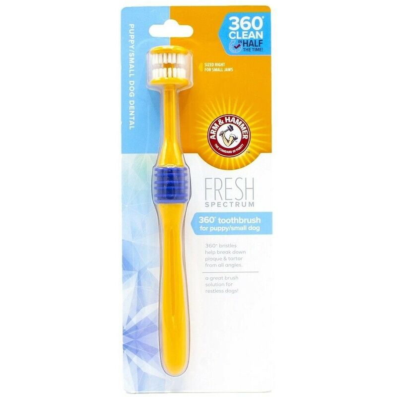 Image of Fresh 360 Dog Toothbrush (One Size) (Yellow/Blue) - Arm&hammer - ARM & HAMMER