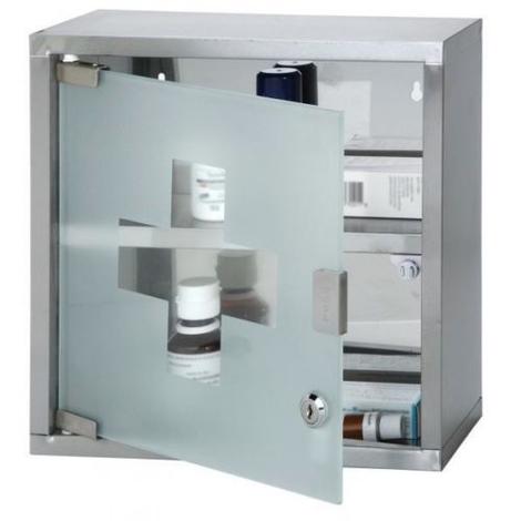 Armadietto Armadio Porta Medicinali Acciaio Inox Vetro Satinato 30x12x30 cm
