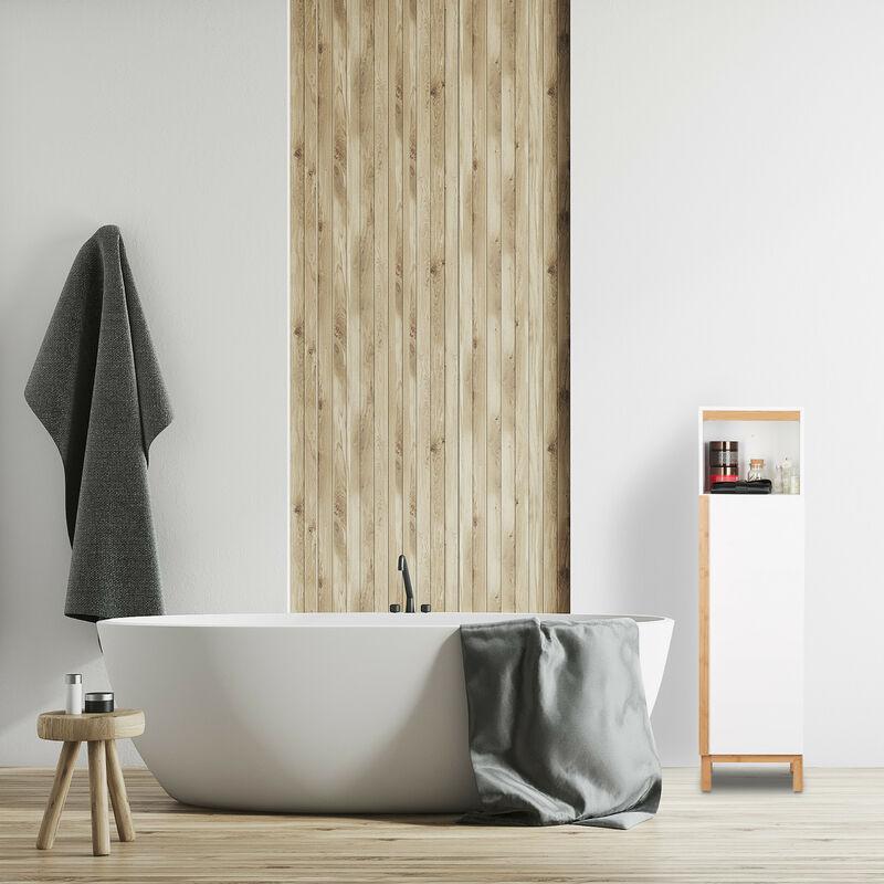 Colonna Bagno 30 Cm.Armadietto Da Bagno Mobile A Colonna Mobiletto 3 Ripiani Hxlxp 119 X 32 X 30 Cm Legno Mdf Bambu Bianco