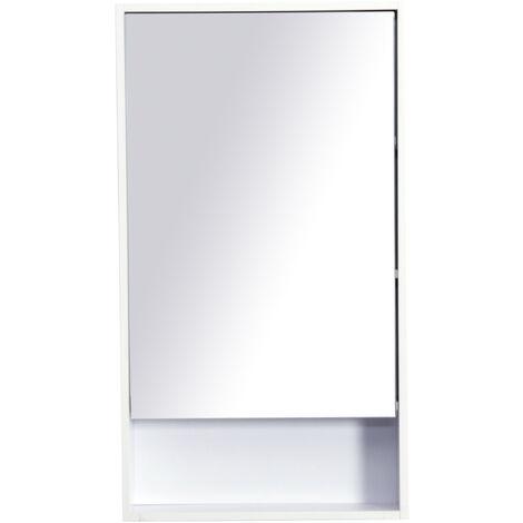 Armadietto Specchio Pensile Bagno, Bianco, 50x90x12cm